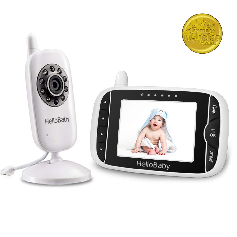HelloBaby Video Monitor for Baby with LCD Display, Infrared Night Vision, Support Multi Camera, Temperature Monitoring, Lullaby and Two Way Audio with Long Range 3.2Inch Display Monitor