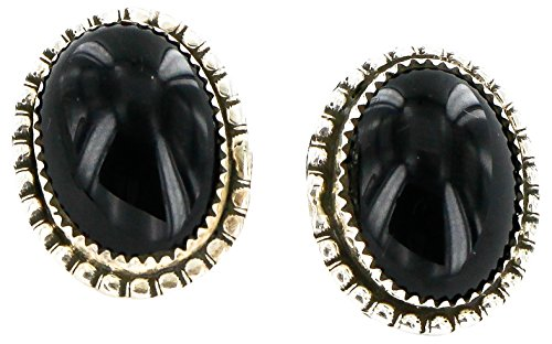 Native-Bay Authentic Handmade Made by Charlene Little Navajo Silver Hooks Stud American Earrings Natural Black Onyx