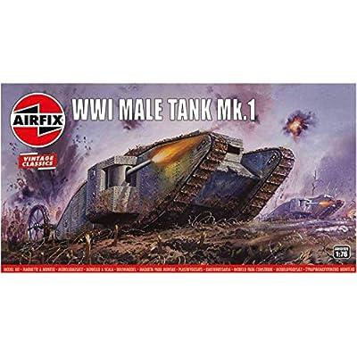Airfix WWI Male Tank MK I 1:76 Vintage Classics Military Plastic Model Kit A01315V: Toys & Games