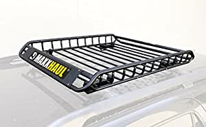 "MaxxHaul 70115 Universal Steel Roof Rack Car Top Cargo Carrier/Basket - 46"" X 36"" X 4-1/2"" - 150 lb Capacity"