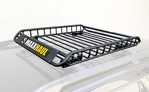 "MaxxHaul 70115 Universal Steel Roof Rack Car Top Cargo Carrier / Basket - 46"" X 36"" X 4-1/2"" - 150 lb Capacity"