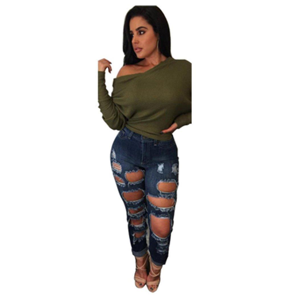 FAPIZI ♥ Women Blouse ♥ Women Oversized Long Sleeve Batwing Pullover Loose Blouse (S, Army Green)