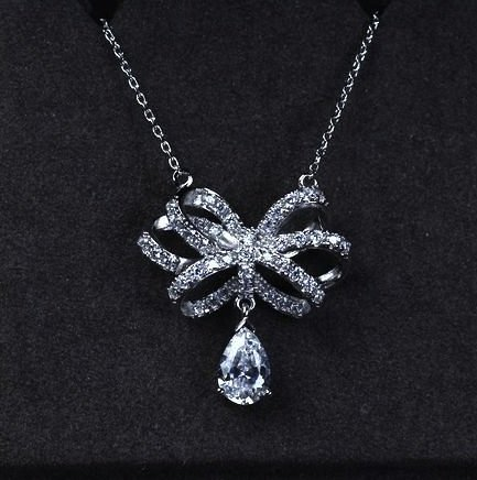 Tiffany Pave Necklace - 14K Stunning Crystal Pave Ribbon with Crystal Pear / Teardrop Necklace - White Gold Plated
