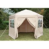 Airwave 35mtr Pop Up Gazebo HEXAGONAL Biege Fully Waterproof With Six Sides And CarryBag