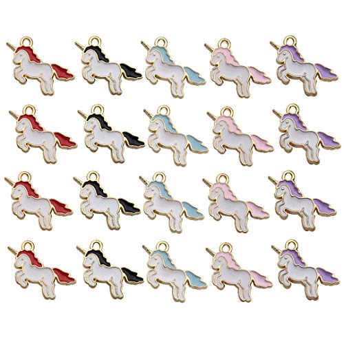 (iloveDIYbeads 50pcs Gold Plated Cute Enamel Unicorn Charm Pendant for DIY Jewelry Making Necklace Bracelet Earring DIY Jewelry Accessories Charms M158)