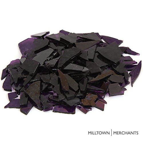 Violet Stained Glass (Milltown Merchants™ Violet Stained Glass Pieces 1 lb - Purple Transparent Stained Glass Cobbles - Broken Glass Chips for Stepping Stones and Crafts - Bright Color Glass Coblets)