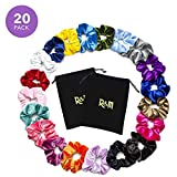 MumyAndMe Velvet Hair Scrunchies for Girls and Women | Pack of 20 Premium Quality Colorful Scrunchie Set and Hair Ties | Bobble Hair Bands and Accessories for Women and Girls | 2 Holder Bags