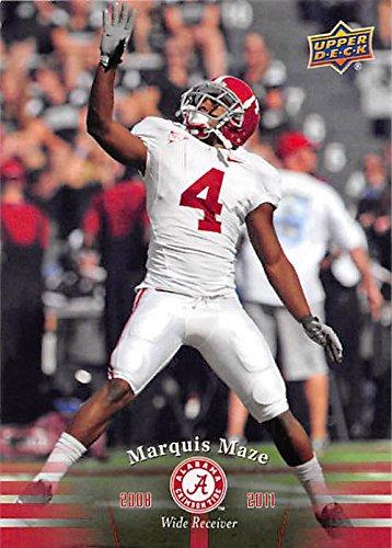 Marquis Maze football card (Alabama Crimson Tide) 2012 Upper Deck #82 2008-2011 Wide Receiver 2010 Maze