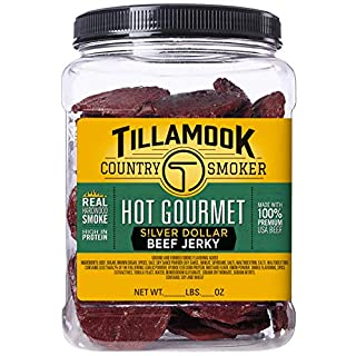 Tillamook Country Smoker None Tillamook Real Hardwood Smoked Hot Gourmet Silver Dollar Beef Jerky 13 oz Resealable Jar