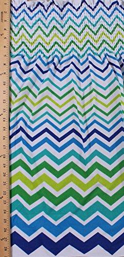Pre-Smocked Sundress Fabric Lightweight Mini Terry Knit Chevron Zigzag Stripe Shirred Fabric by The Yard (1302-9780)