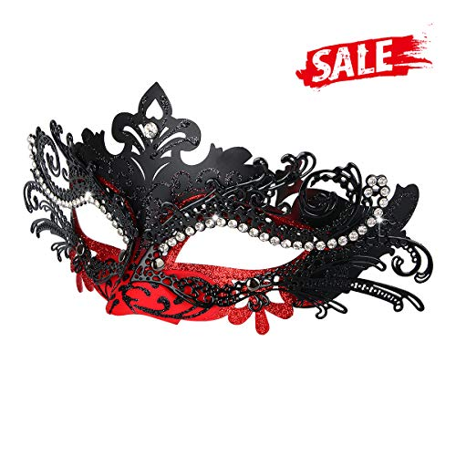 Hoshin Masquerade Mask, Mardi Gras Deecorations Venetian Masks for Womens (Red & Black)