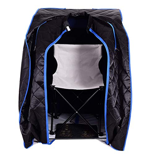 Giantex Portable Far Infrared Spa Sauna Full Body Slimming Weight Loss Negative Ion Detox Therapy in Home Personal Sauna w/Heating Foot Pad and Folding Chair (Black)