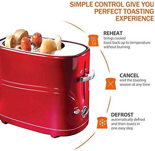Demo Tour Eléments 2-Pain avec 5 Paramètres Browning contrôle, de dégivrage, et annuler Les paramètres de réchauffage, Grille-Pain Multifonctions avec Fonction de saucisses, 650 W