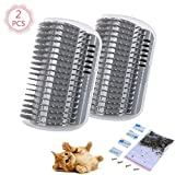 2 Pcs/Set Cat Self Groomer Brush Catnip-Wall Corner Mounted Massage Grooming Comb-Helps Prevent Hairballs and Controls Coming-Safe fortable with Catnip (Grey)
