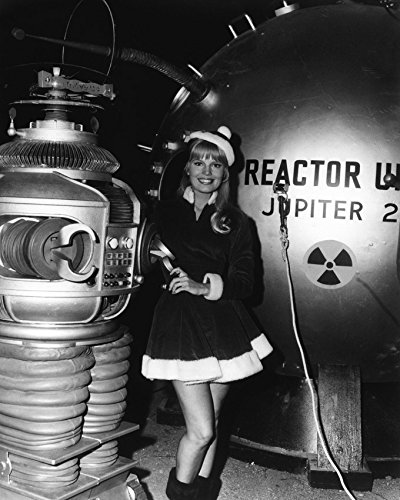 Lost In Space Robot Costume (Marta Kristen In Lost In Space In Santa Claus Costume By Robot On Set 16X20 Canvas Giclee)