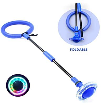 Foldable Ankle Skip Ball Colorful Light Flashing Jumping Ring, Fitness Jump Rope Fat Burning Game for Adults and Kids Toy (Blue): Sports & Outdoors