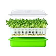 Seed Sprouter Tray Soil-Free BPA Free PP Healthy Wheatgrass Grower 9.84 x 13.4inch with Cover