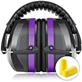 Fnova 34dB Highest NRR Safety Ear Muffs - Professional Ear Defenders for Shooting, Adjustable Headband Ear Protection / Shooting Hearing Protector Earmuffs Fits Adults to Kids (Purple)
