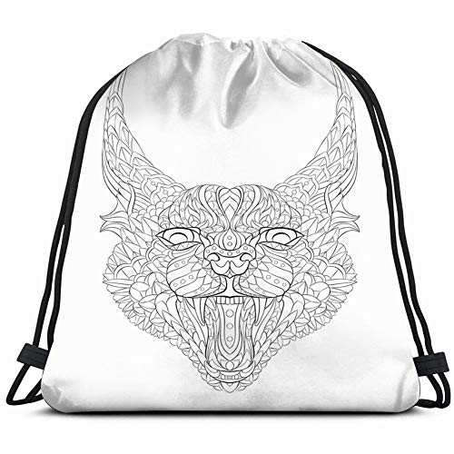 patterned caracal lynx growling cat tattoo animals wildlife abstract Drawstring Backpack Gym Spacious Pull String Backpack Multifunctional storage bag 14.2 x 16.9 inch