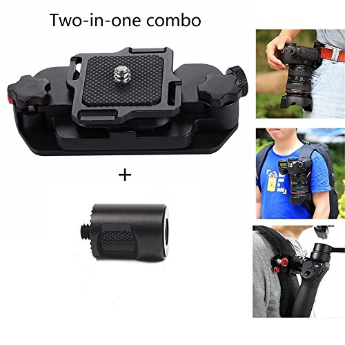 Joint Victory Belt Clip Holster Aluminum Alloy Strap Buckle Quick Release Clamp Plate with 1/4 Tripod Screw Mount for DJI OSMO OSMO+ Mobile Handheld Gimbal Cam and Digital SLR Camera(for ()