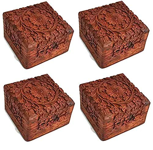 Artncraft Jewelry Box Novelty Item, Unique Artisan Traditional Hand Carved Rosewood Jewelry Box from India Inside (4-(Pack)) (Hand Carved Jewelry)
