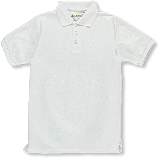 16 White Universal School Uniforms Unisex S//S Pique Polo