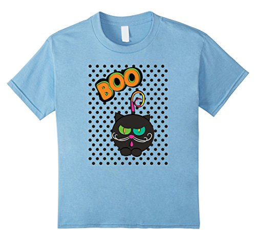 [Kids Cute Cat Boo! Family Kitty Halloween Costume T-shirt 10 Baby Blue] (Homemade Kitty Cat Halloween Costume)