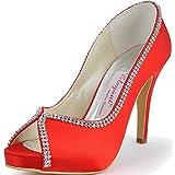 ElegantPark EP11083 Women Pumps Peep Toe Rhinestones Platform High Heel Satin Evening Prom Wedding Dress Shoes Red US 8