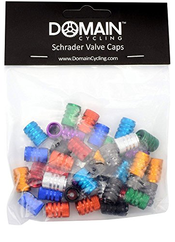 Domain Cycling 40pcs Schrader Tire Valve Caps, Knurled Multi-Color Anodized Machined Aluminum Alloy Bicycle Bike Tire Valve Caps Dust Covers by Domain Cycling (Image #5)
