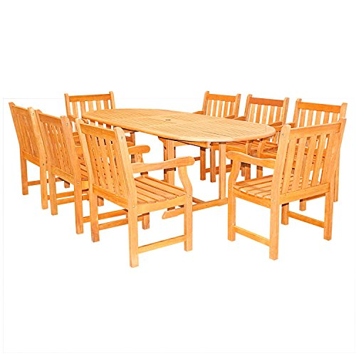 Vifah V144SET3 Outdoor English Garden 9-Piece Dining Set with Oval Extension Table, Natural Wood Finish, 91 by 39 by 29-Inch