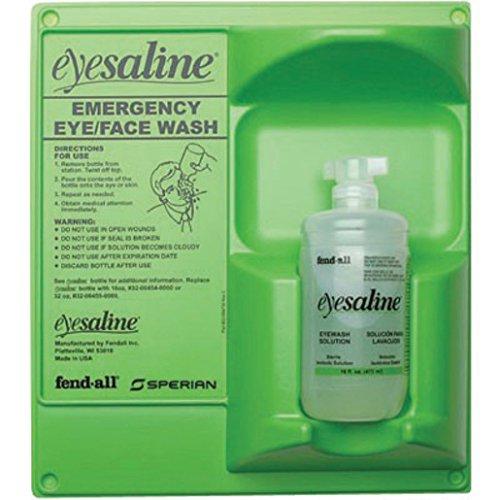 Honeywell HON32-000461-0000 Fend-All 32 oz. Single Bottle Eyesaline Sperian Sterile Eye Wash Wall Station, English, 15.34 fl. oz. Volume, Plastic, 1' x 1' x 1' 1 x 1 x 1