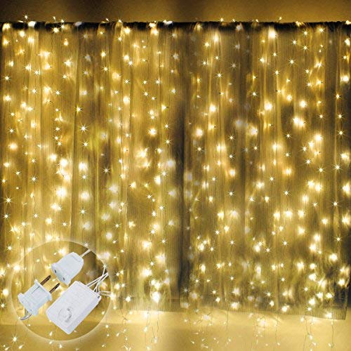 Excelvan 10x10FT/3x3M 300 LEDs Transparent String Curtain Light, 8 Modes Twinkle Window Light with Memory Function for Christmas Wedding Party Home Indoor Outdoor Festival Decoration, Warm White -