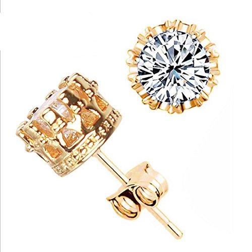 Clearance Deal! Hot Sale! Earring, Fitfulvan 2018 Simple Fashion Diamond Ear Stud Earrings Women Jewelry (Gold)