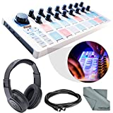Arturia BeatStep USB/MIDI/CV Controller and Sequencer and Basic Bundle w/ Samson SR350 Pro Headphones + MIDI Cable + Fibertique Cloth