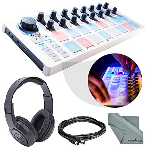Arturia BeatStep USB/MIDI/CV Controller and Sequencer and Basic Bundle w/ Samson SR350 Pro Headphones + MIDI Cable + Fibertique Cloth by Photo Savings