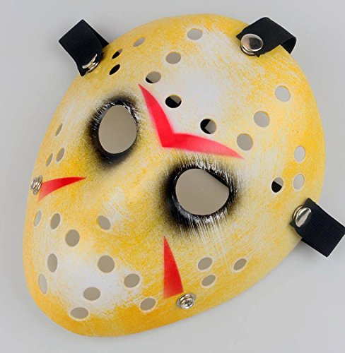 Gmasking Horror Halloween Costume Hockey Mask Party Cosplay Props (Old-Yellow)