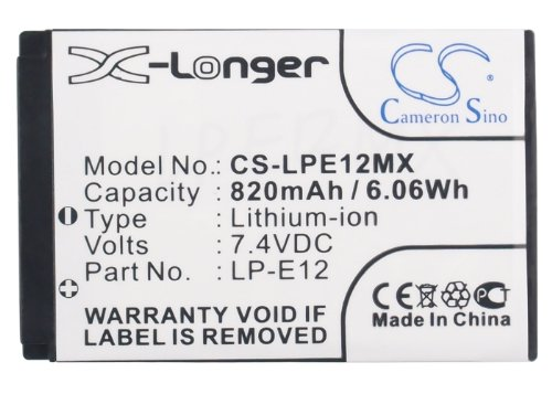 (Replacement Battery Li-ion 7.40V 820mAh / 6.06Wh for Canon LP-E12,EOS M,EOS-M,EOS 100D,Rebel SL1 Digital,EOS M2)
