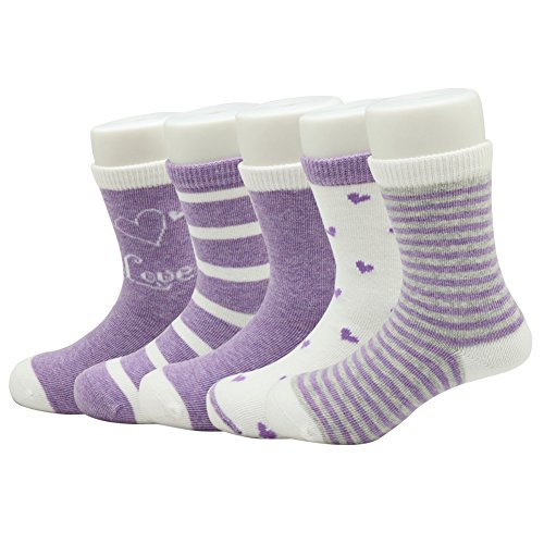 (ChigenBird Boy/Girl Crew Socks 5 Pack for Toddler/Little/Big Kid (3-17 years))