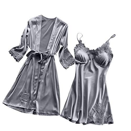 New Women Sleepwear Kimono Set,Ladies Sexy Lace Pad Lingerie Silk Lace Robe Dress Babydoll Nightdress Cute Hot Tops Gray L