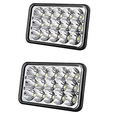 2x LED Rectangular Headlights Lamps Replacement Headlamp 4X6 Inch Sealed Beam 15pcs LEDs 45W for Truck Trailer Tractor Motorcycle