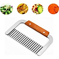 Huo Le Crinkle Cutting Tool French Fry Slicer Stainles Steel Blade Wooden Handle,for chopping veggies, cutting fruit, potato, soap, waffle fries, pickle chips and making fancy garnishes.