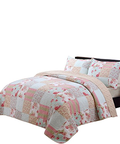 vivinna home textile Cotton Quilt King Size Sets- Patchwork Pink Bedspread -Summer Blanket