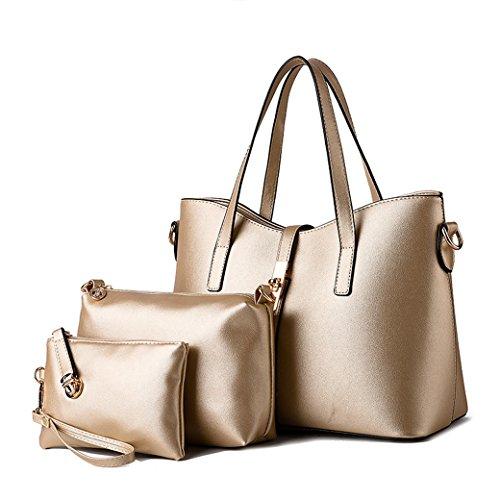 Femenil Bolsos de Moda PU Cuero Bolso de Mano + Bolso Bandolera + Bolso de 3 piezas Silver Gold