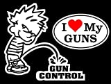 1 Set Marvelous Fashionable Boy Peeing Piss Gun Control Sticker Sign 24Hr Protected Security Firearm With 2-Style