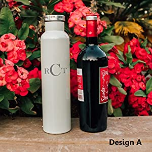 Factory eNova Double Wall Insulated Vacuum Fifty Fifty Bottle - Personalized Wine Growler, 750ml (25 Ounce)