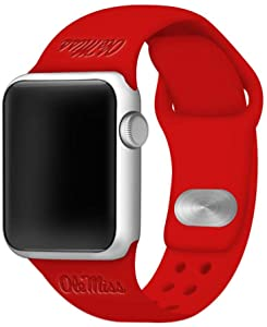 AFFINITY BANDS Mississippi Ole Miss Rebels Debossed Silicone Watch Band Compatible with Apple Watch - 42mm/44mm Red