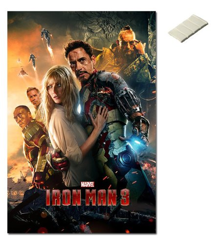 Bundle - 2 Items - Iron Man 3 One Sheet Style Poster - 91.5 x 61cms (36 x 24 Inches) and Small Block Of White -