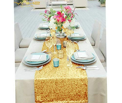 Kaputar 14x120-Inch Rectangle-Gold-Sequin Table Runner- for ding/Party/Decor (14x120-Inch) | Model WDDNG -584 | 14x120-Inch]()