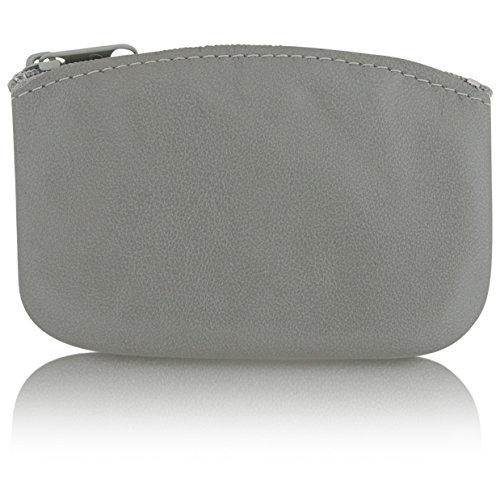 (Classic Men's Large Coin Pouch Change Holder, Genuine Leather, Zippered Change Purse, Pouch Size 5 x 3 By Nabob (Silver))