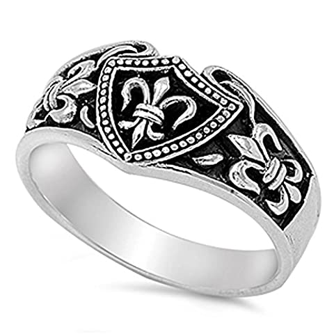FLEUR DE LIS, VINTAGE, ANTIQUE .925 ITALIAN Sterling Silver Ring (10) (Ice Jewelry For Men)